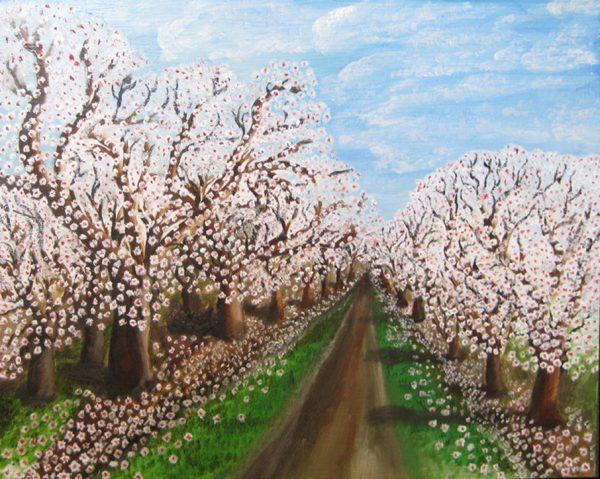 Oil on Masonite painting almond lane